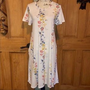NWT M LLR Floral Printed White Jessie Swing Dress